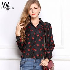 2016 Spring New Fashion Women's Blouses Red Lips Print Chiffon Casual Lady Shirt White Stand Collar Button Long Sleeve Blouse