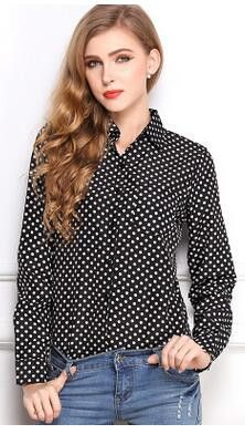blouse women printing Leopard Lips Five-pointed star Jesus crosses Dots full sleeves Cardigan buckle summer female Large size x