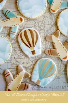 See how to make these hot air balloon, air plane, and cloud sugar cookies. Quick, easy, and perfect for a vintage travel themed baby shower.