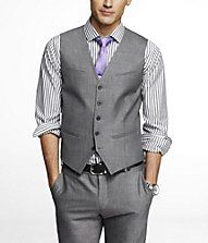 Love the striped shirt and purple tie with gray suit! This is what my husband and the groomsmen will be wearing, fyi.