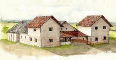 Rekonstruktion des Hauptgebäudes eines römischen Gutshofs (1.-4. Jh.), der in…   Reconstruction of the main building of a Roman estate ( 1. -4 . C.), Which was excavated in Aschheim on Aussiedlerhof