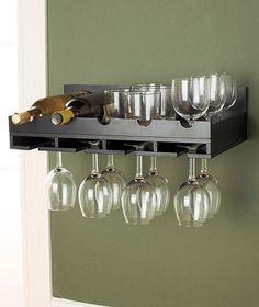 New Wooden Black Wine Bottle and Wine Glass Kitchen Wall Storage Rack Holder
