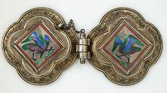 Agraffe (clasp) used to fasten a cloak or mantel. This exceptional example is in… Medieval Jewelry, Ancient Jewelry, Wiccan Jewelry, Enamel Jewelry, Antique Jewelry, Silver Jewelry, Silver Ring, Silver Earrings, Crowns