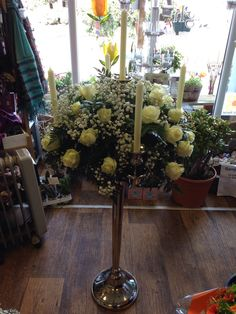 Large candelabras with avalanche roses and gyp
