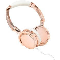 Women's Audio Technology Of Ny Stereo Headphones With Microphone Rose... ($32) ❤ liked on Polyvore