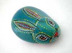Teal Blue  Rabbit  - Painted Stone , Animal Totem -Dotted Aboriginal Art , unisex gift for dad, her, him