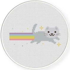 Rainbow Cat Cross Stitch Illustration