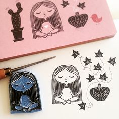 My little Yoga girl. Can be stamped on various places as a reminder to take it easy.:-)