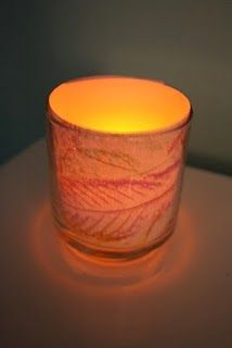 Leaf Rubbing Fall Votive Candles from Pink and Green Mama