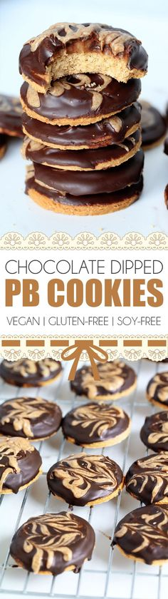 Chocolate Dipped Peanut Butter Cookies You can probably tell I& really into both cookies, or biscuits as we call them here in the UK, and chocolate! It seems many of my recent recipes have either been cookies… Chocolate Avocado Brownies, Vegan Chocolate, Chocolate Dipped, Quick Healthy Desserts, Vegan Gluten Free Desserts, Vegan Recipes, Vegan Sweets, Vegan Food, Free Recipes