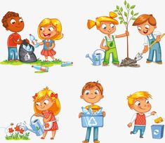 Girl watering flowers from watering can. Kids gathering plastic bottles for recycling. Boy throws litter into bin. Funny Cartoon Characters, Cartoon Kids, Happy Children's Day, Happy Kids, Recycling, Art Drawings For Kids, Cartoon Sketches, Christmas Drawing, Trees To Plant