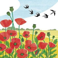 Liane Payne -  poppy field & swallows