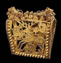 Gold Headdress Decoration with Open Work Animal Decoration, Ancient Georgia, grave 24, ca. 350-300 B.C.
