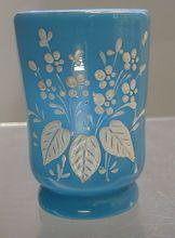 Antique Victorian blue Bristol glass tumbler or vase