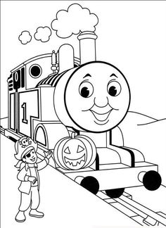 Thomas With Child And Pumpkin Coloring Pages