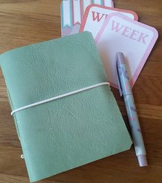 Ladies gift leather notebook journal with envelope pockets and free journaling cards mint green fountain pen friendly paper personalised by BespokeBindery