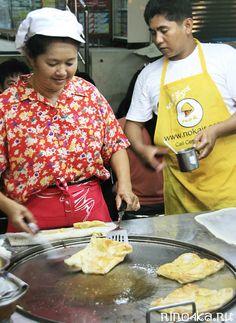Тайские блинчики роти, рецепты тайских блинов, блинчики в Таиланде, блины с бананом, тайские блины