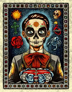 8 x 10 Matted Day of the Dead Boy Art Print  by NicholasIvins