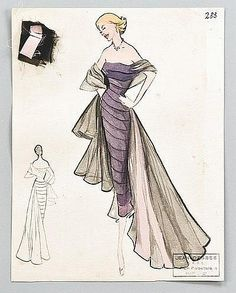 Jean Dessès fashion sketches, Winter, 1950, all