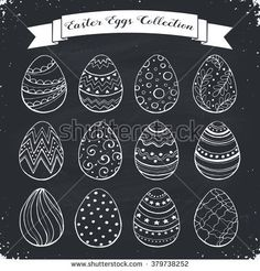 Hand drawn Easter eggs collection. Doodle eggs with zentangle ornaments on chalkboard. Set of whimsical Easter eggs in sketch style.
