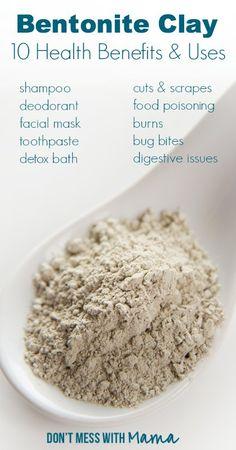 10 Uses for Bentonite Clay at Home – Health Benefits of Bentonite Clay - Mundpflegeprodukte - Mundpflege-Tipps Natural Cures, Natural Healing, Healing Clay, Natural Beauty, Pure Beauty, Uses For Bentonite Clay, Bentonite Clay Benefits, Argile Bentonite, Health Tips