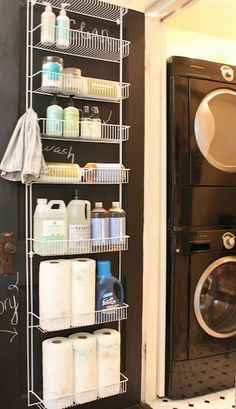 Love the idea of using an over the door rack for laundry cleaning and household storage Organisation Hacks, Organizing Tips, Organising, Organize Cleaning Supplies, Laundry Room Organization, Laundry Storage, Door Storage, Storage Shelves, Bathroom Storage