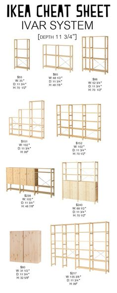 Ivar System: Ikea Cheat Sheet - Petite Modern Life Looking for an easy way to navigate the Ikea Ivar System? Check out my Ikea Cheat Sheet to find the right dimensions and cost for your space. Ikea Ivar Shelves, Ivar Ikea Hack, Ikea Storage, Storage Ideas, Ikea Ivar Regal, Dressing Ikea, Ikea Pantry, Up House, Kallax