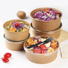 Online Shop Food Grade Disposable Kraft Paper Salad Packing Box Takeout Food Salad Box Breakfast Fast Food Tray With Lid Take-away Tray Takeaway Packaging, Salad Packaging, Food Packaging Design, Tapas, Food Packing Boxes, Comida Delivery, Fast Food Salads, Disposable Food Containers, Salad Box