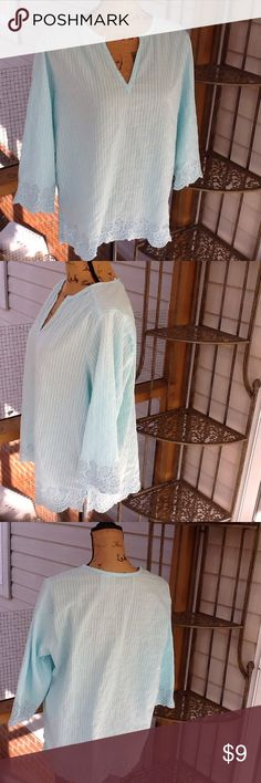 Cathy Daniels top Soft mint green color w/beautiful detail,100%cotton.like new.         BUNDLE and SAVE 20%!!! cathy Daniels Tops Blouses