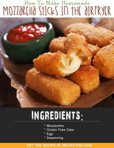 How To Make Homemade Mozzarella Sticks In The Airfryer via @recipethis