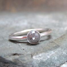 Rose Cut Diamond Solitaire and Sterling Silver Ring - Artisan Jewellery - Handmade and Designed by A Second Time