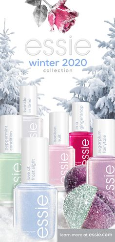 it's love at frost sight when you cozy up to the new essie limited edition winter 2020 collection. shades inspired by a dreamy, frosted fantasy that's filled with holiday treats and all things sweet. from a cool, baby blue to a rich, rosy red, these polishes deliver a glistening, gold frosted effect that bring a fantastical winter dream to life. Essie Nail Polish Colors, Cute Nail Polish, Cute Acrylic Nails, Cute Nails, Colorful Nail Designs, Cute Nail Designs, Pretty Nail Colors, Pretty Nails, Iridescent Nail Polish