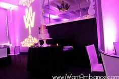 Uplighting for a wedding reception at the W hotel in Washington DC   Www.iWantAmbiance.com