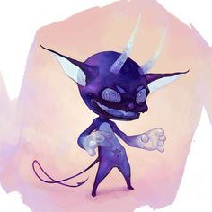 This is Bleu, the demonic frozen blueberry.  Bleu was a frozen blueberry that fell out of a pre-packaged fruit smoothie mix and was forgotten on the bottom of a freezer. He remained there until he was possessed by a demonic spirit and now spends his days freezing objects while speaking jibberish but finds himself hilarious. #vonnart #timvonrueden #conceptart #digitalart #blueberry #demon #art #cgcookie #drawing #digitalpainting #art #instaart #instaartist - Tim Von Rueden