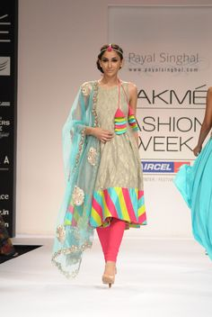 lovely anarkhali by designer Payal Singhal. The color theme is vibrant yet soft and has a full summer effect!