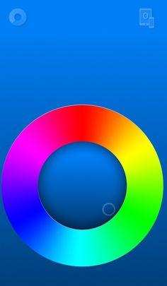 Moods - Iphone App, durch das Bewegen des Punktes innerhalb des Kreises kann man die Emotion (Farbe) auswählen. Es besteht danach lediglich die Möglichkeit diese mit jemanden zu teilen der die App auch hat.