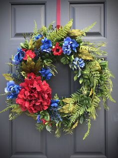 Spring Wreath Blue Red Door Wreaths Spring Door Decor Red Hydrangea Wreath Red Blue Decor New Home Gift Housewarming Gift Mothers Day Gift Red Hydrangea, Hydrangea Wreath, Floral Wreath, Spring Door Wreaths, Christmas Wreaths, New Home Gifts, Green Backgrounds, Mother Gifts, House Warming