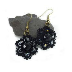 Lace fashion black lace earrings with black onyx £19.00