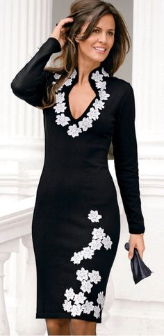 Moda Feminina - Vestido com detalhes bordados - Vestido preto/branco