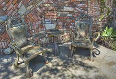 Concrete Chairs and wonderful Brick Wall in Laguna Beach, CA