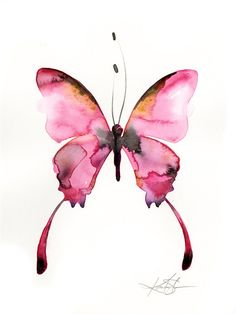 "Pink Butterfly Watercolor painting, Abstract pink, Art,  Original ooak painting ""Watercolor Butterfly 4""  by Kathy Morton Stanion  EBSQ"