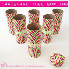 Make a mini bowling set with cardboard tubes and Duck tape CUTE and classroom safe! Cardboard Tube Crafts, Toilet Paper Roll Crafts, Cardboard Rocket, Paper Craft, Fun Crafts For Kids, Crafts To Make, Summer Crafts, Kids Diy, Mini Bowling