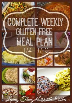 Complete Weekly Gluten Free Meal Plan for 1/4 - 1/10