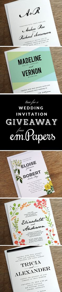 This week only! Printable wedding invitation giveaway contest from e.m.papers! Pin up to 5 of your favorite e.m.papers wedding invitation designs and get a chance to win a printable wedding invite of your choice with color changes and other customizations!