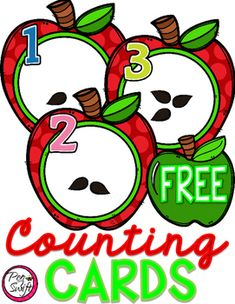 Enjoy these FREE Apple Counting Cards for your classroom! Bright and colourful - perfect for Math Centers!