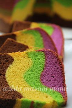 RAINBOW CHIFFON CAKE RECIPE Baking Recipes, Cake Recipes, Inside Cake, Asian Cake, Cheesecake Cupcakes, Lemon Cheesecake, Angel Cake, Chiffon Cake, Eat Dessert First