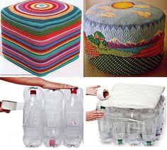 Recicla y decora al mismo tiempo: Aprende a hacer un puff con botellas de refresco