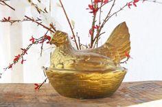 Vintage Brass Dish  Brass Chicken on Nest Brass by Vintassentials