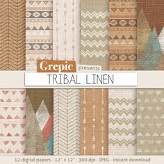 Tribal digital paper TRIBAL LINEN with aztec patterns by Grepic, $4.90