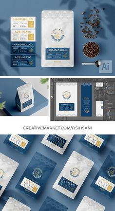 It's an elegant yet sophisticated coffee bag template for Adobe Illustrator. Available with label on the front side of the bag to determine certain product variety | #aceh gayo #bag #barista #beverage #brand #cafe #caffeine #coffee #coffee bag #design #elegant #food #flat bottom #gusset #illustrator #kopi #mandheling #marketing #minimal #packaging #packaging design #pantone #pouch #print #retail #roastery #shop #single origin #stall #template #ai #aesthetic #beans #blue #branding #brew #business Web Themes, Cool Items, Branding, Templates, Marketing, Coffee, Creative, Illustration, Bags